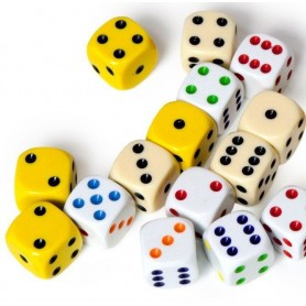 "Dice D6 ""Simple"" 16mm: different colors (in stock)"