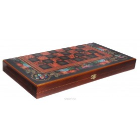 "Chess, Checkers, Backgammon 3 in 1 ""Flowers"""
